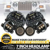 7 inch 370W CREE LED Headlights Halo with Fog Lights Turn Signal Combo For Jeep