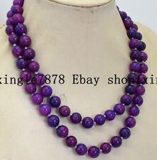 Beautiful 12mm Natural Purple Sugilite Round Gemstone Bead Necklace 35'' AAA
