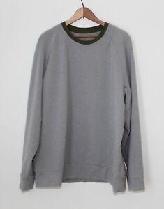 Lululemon City Crew Sweatshirt Grey With Green Trim Activewear Big Guys ~XXL