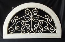 """WHITE ARCHITECTURAL SALVAGE WOOD & WROUGHT IRON TOPPER PEDIMENT ACCENT 20"""""""