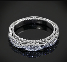 14K White Gold Over .35 Ct Round Cut Diamond Womens Wedding Band Engagement Ring