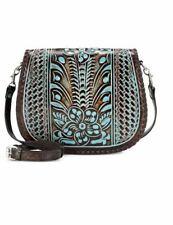 New ListingPatricia Nash Savini Saddle Bag Turquoise Tooled Flap Crossbody Leather New