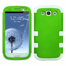 For Samsung Galaxy S III 3 Rubber IMPACT TUFF HYBRID Hard Case Cover Green White