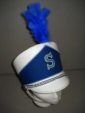 Vintage Leather Shako Helmet Hat Majorette Major Marching Band Blue White