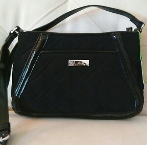 Vera Bradley Trapeze Crossbody Shoulder Bag in Black with Faux Leather Trim NWT