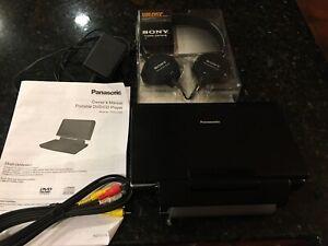 New Panasonic Portable 9 in DVD/CD Player + Sony Stereo Headphones Custom Bundle