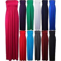 Women Sleeveless Boobtube Bandeau Maxi Ladies Sheering Long Dress Tube Plus Size