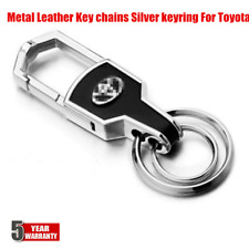 Best Double Ring Car Logo Metal Leather Key chains Silver keyring For Toyota