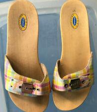 Vintage Dr Scholls Original Wood Exercise Sandal Size 8 Pastel Plaid Leather