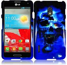 For LG Optimus F7 US780 HARD Protector Case Snap On Phone Cover Blue Skull