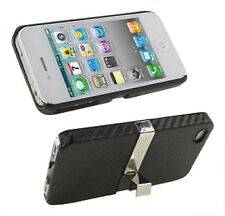 iphone 4 4s Bumper Cases Cover in Hard Plastic Carbon Fibre With Stand UK NEW