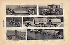 Antique print transport car automobile auto WW1 1920