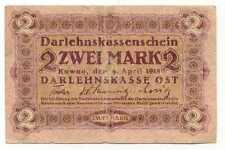 Germany WWI Occupation of Lithuania 2 Mark 1918 #466 F+