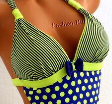 Sexy MONOKINI mit Punkten Dots Schleife Retro Vintage Badeanzug grün/blau XXS 32