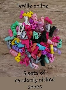 New clothes outfit Barbie doll boots shoes .  5 pairs of random picked shoes