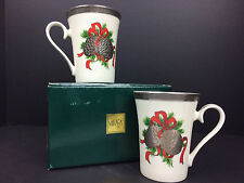 2 Mikasa Pine Cone Christmas Coffee Cups Holiday Tea Mugs Silver Accents