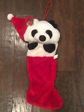 Vintage Christmas Panda Bear Paws Teddy Plush Stocking Santa Hat