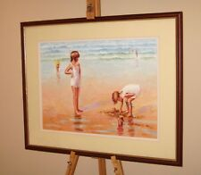 ROBERT NIXON Original Oil Painting Children Playing Sand Castles on Sandy Beach