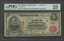 "FR587 $796 $5 1902 RED SEAL ""YALE - NEW HAVEN, CT"" PMG 25 VF+ EXT RARE WLM7422"