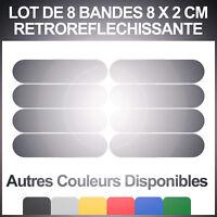 8 Stickers Réfléchissants (8cm X 2cm) Visibilité la nuit, réfléchit la lumière