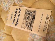 "Vintage 1971 Synopsis Of Oregon Angling Regulations 3 3/4"" X 6 1/2"" Fishing"