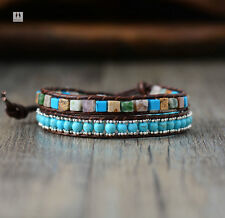 Crystal Bead Turquoise Bracelet Wrap Surfer Beach Blue Chakra Leather Agate ED