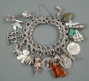Vintage Sterling World Traveler Loaded Charm Bracelet 21 Charms 84g Signed