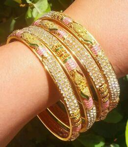 SEE VIDEO! Stunning 18K Gold Plated White Crystal Studded Bangle Bracelets