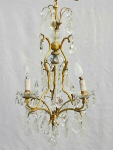 Mid-century Italian semi-crystal chandelier with 4 lights 25½""
