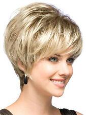 Natural Hell Blonde Glatt Kurz Haar-Perücken Kurz Wie Echthaar Dame Perücke Neu