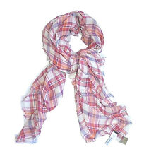J. Crew - NWT - Square Pink Plaid Linen/Cotton Blend Baby Fringe Scarf