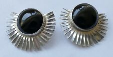 Designer Ohrclipse Onyx - Cabochons Mexico 925 Silber Vintage 70er earrings