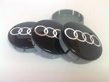 AUDI 4pcs Plastic Wheel Centre Caps with Chromed Emblem 60mm/55mm NEW
