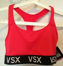 BNWT Victoria's Secret VSX Sport Red Racerback Exercise Bra Top L support logo