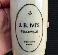 Antique Belleville, Ontario 'J. B. IVES' stone ginger beer bottle FREE SHIPPING!