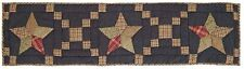 """Arlington Blue Table Runner Country Farmhouse Hand Quilted Star Patchwork 48"""" L"""