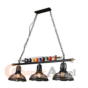 "39"" Hanging Pool Table Lights Fixture Billiard Pendant Lamp w/ 3 Glass Shades"
