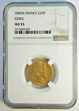 1849 A 20 Francs Gold France NGC AU53 Ceres G20F