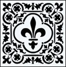 "Fleur de Lis Cuadrado 190m Mylar Durable Reutilizable Stencil - 6 X 6"""