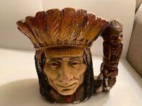 Native American Feather Headdress ceramic Big Mug 1973 Home Decor Assoc Inc RARE