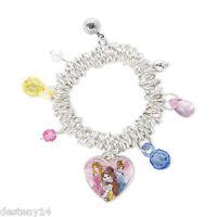 Disney Princess Sketch Drawing Heart Charm Bracelet Aurora Belle Cinderella New