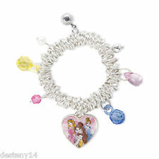 Disney Princess Sketch Drawing Heart Charm Bracelet Aurora Belle Cinderella New