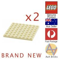 x2 Genuine LEGO® - Plate 8 x 8 - Tan - Part 92438 - Brand New