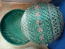 HAND WOVEN HAND PAINTED LIDDED ROUND FOOTED BASKET - Green Multi Bali Indonesia