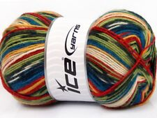 100 Gram Super Sock Yarn #51264 Blue Green Red + Self-Patterning Superwash Wool