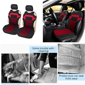 Polyester Fabric 2-Front Car Seat Cover Car Protector Seat Decoration Black/red