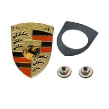 Porsche 911 914 927 OES Red And Black Enamel on Gold Hood Emblem Kit New