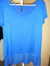 JASON MAXWELL ROYAL BLUE CAP SLEEVE  TUNIC WITH SHEER BOTTOM