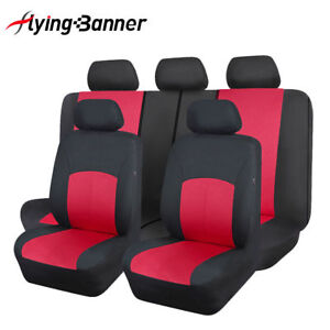 Full Set Universal Car Seat Covers Red Polyester Washable  Airbag Compatiable