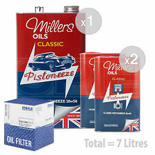 Engine Oil and Filter Service Kit 7 LITRES Millers Oils Pistoneeze 20W-50 7L